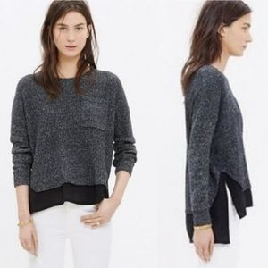 Madewell Alliance Pullover Black Silk Sweater Sz S